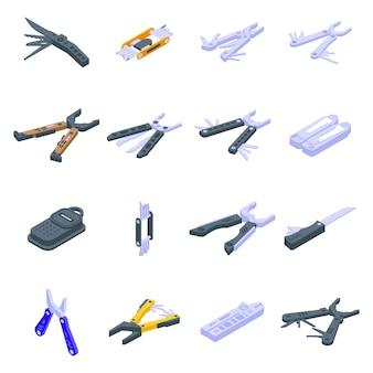 Conjunto de ícones de ferramentas múltiplas. conjunto isométrico de ícones vetoriais de ferramentas múltiplas para web design isolado no fundo branco