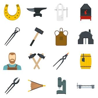 Conjunto de ícones de ferreiro em estilo simples
