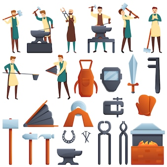 Conjunto de ícones de ferreiro, estilo cartoon