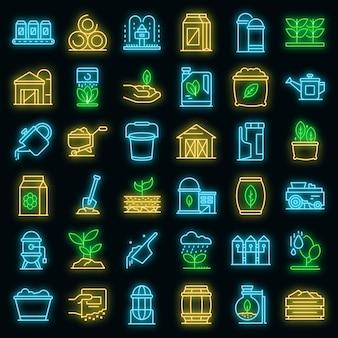 Conjunto de ícones de fertilizantes. conjunto de contorno de ícones de vetor de fertilizantes, cor de néon no preto