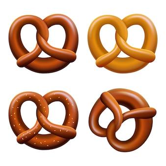Conjunto de ícones de fest de outubro pretzel