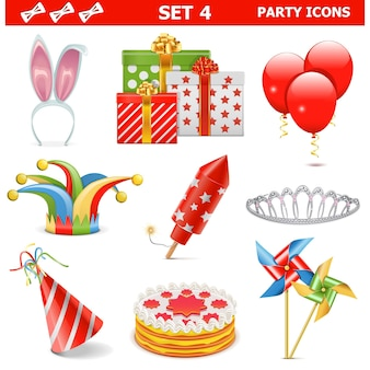 Conjunto de ícones de festa 4 isolados no branco