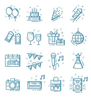 Conjunto de ícones de festa com estilo de estrutura de tópicos