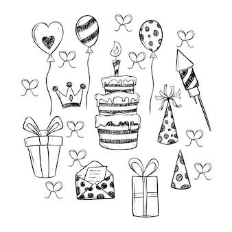 Conjunto de ícones de festa de aniversário preto e branco configurados