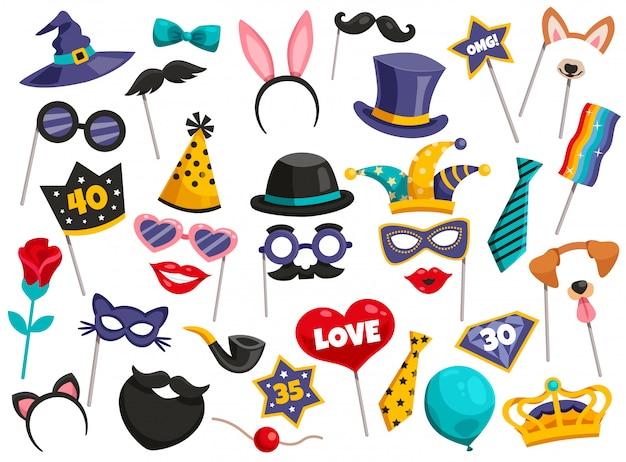 Conjunto de ícones de festa de cabine de foto