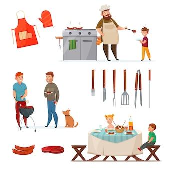 Conjunto de ícones de festa de churrasco