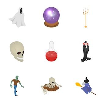 Conjunto de ícones de festa de halloween, estilo isométrico