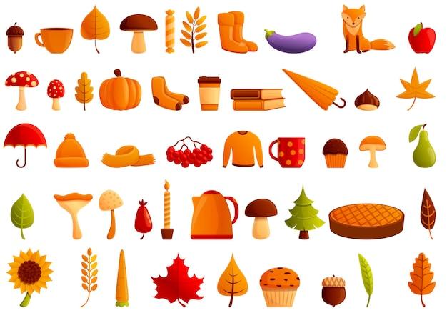 Conjunto de ícones de festa de outono. conjunto de desenhos animados de ícones de vetor de festa de outono