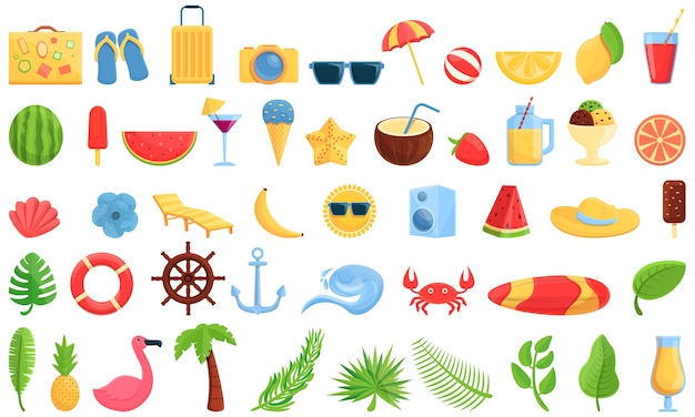 Conjunto de ícones de festa de verão. conjunto de desenhos animados de ícones de vetor de festa de verão