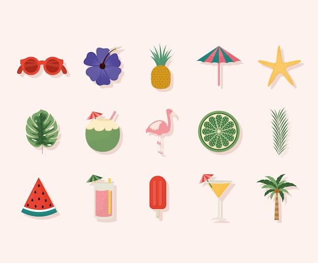 Conjunto de ícones de festa de verão fofos