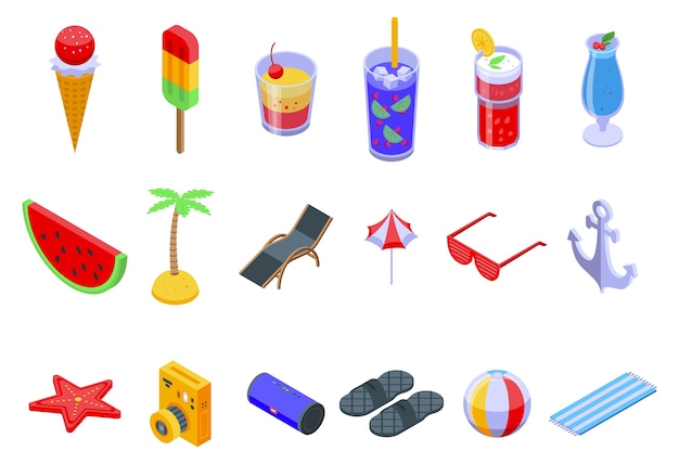 Conjunto de ícones de festa de verão.