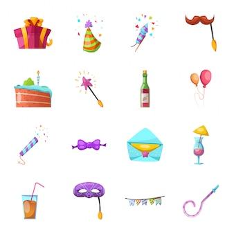 Conjunto de ícones de festa dos desenhos animados
