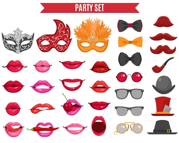 Conjunto de ícones de festa em estilo retro