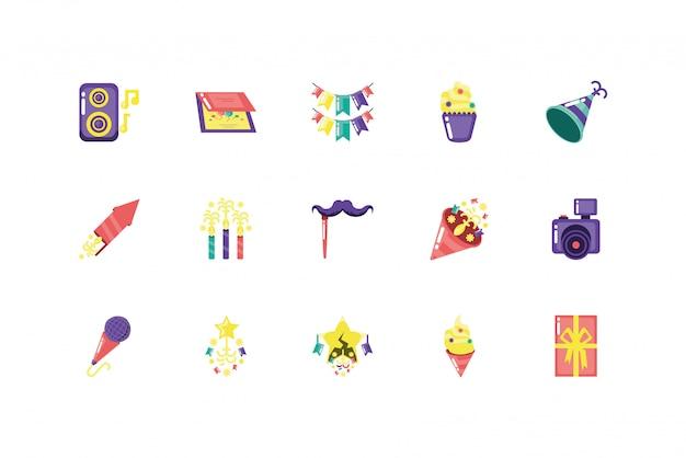 Conjunto de ícones de festa isolado vector design