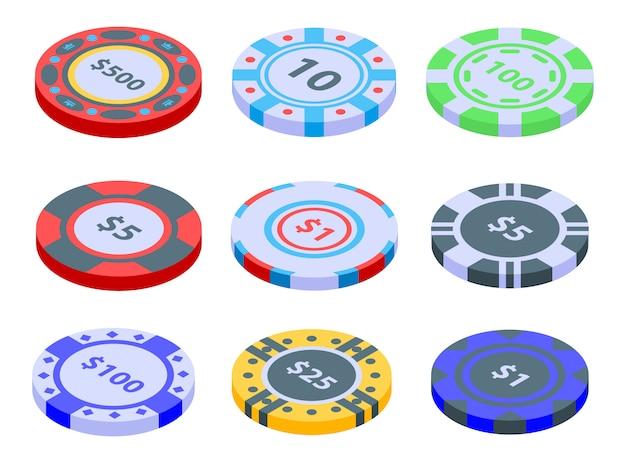 Conjunto de ícones de fichas de cassino, estilo isométrico
