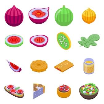 Conjunto de ícones de figos. conjunto isométrico de ícones de figos para web isolado no fundo branco