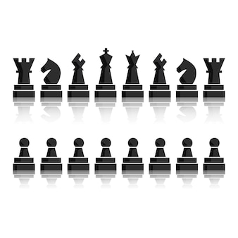 Conjunto de ícones de figuras de tabuleiro de xadrez preto