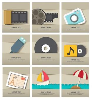 Conjunto de ícones de filme isolado