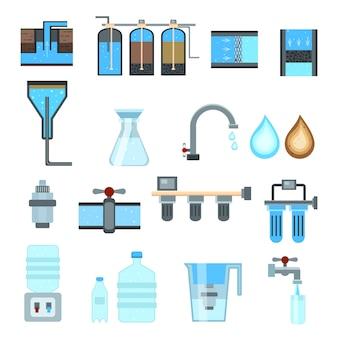 Conjunto de ícones de filtragem de água
