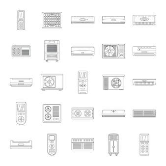 Conjunto de ícones de filtro de ar de condicionador