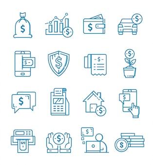 Conjunto de ícones de finanças com estilo de estrutura de tópicos