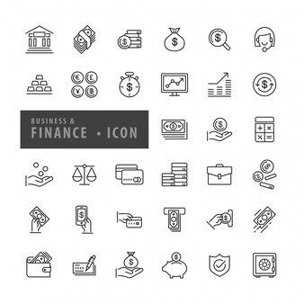 Conjunto de ícones de finanças de negócios, vetor