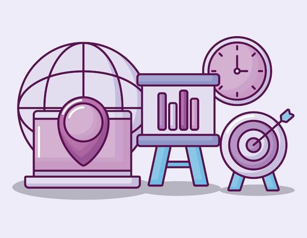 Conjunto de ícones de finanças de negócios