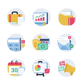 Conjunto de ícones de finanças e escritório de negócios