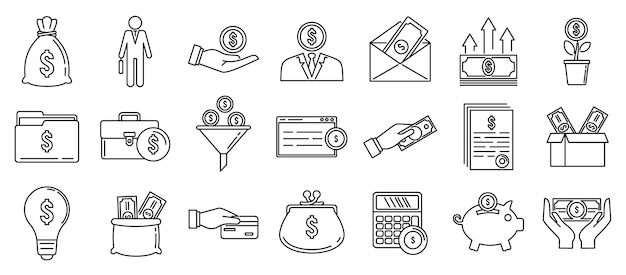 Conjunto de ícones de finanças para investidores, estilo de estrutura de tópicos