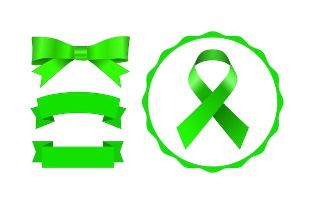 Conjunto de ícones de fita e banner com arco verde