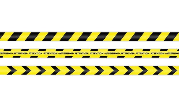 Conjunto de ícones de fita policial. atenção. aviso. vetor em fundo branco isolado. eps 10.
