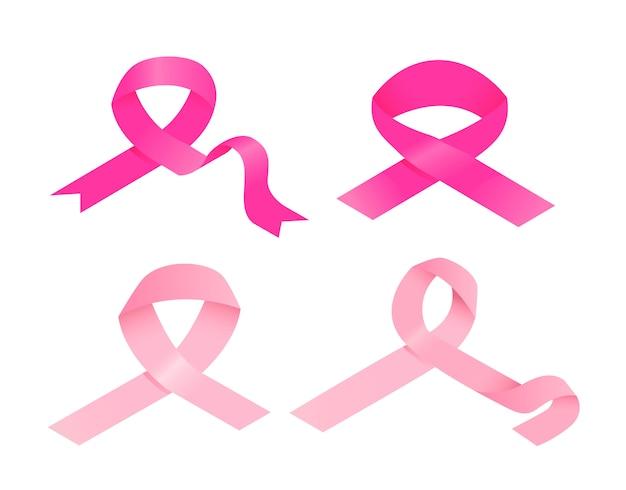 Conjunto de ícones de fita rosa de câncer de mama