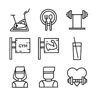 Conjunto de ícones de fitness e esporte. símbolos de estilo de vida saudável.