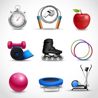 Conjunto de ícones de fitness e esporte