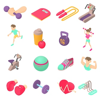 Conjunto de ícones de fitness em estilo 3d isométrico