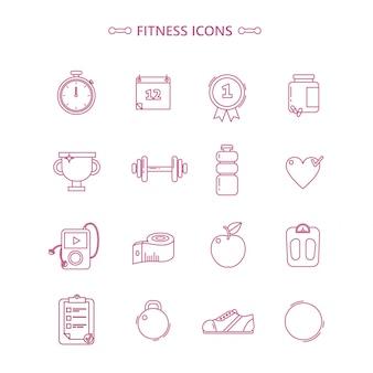 Conjunto de ícones de fitness no estilo otline