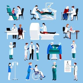 Conjunto de ícones de fllat de pessoas de cuidados médicos