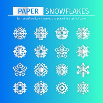 Conjunto de ícones de flocos de neve de ppaer