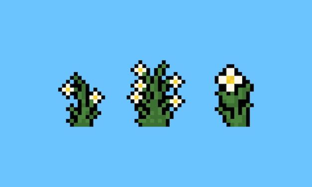 Conjunto de ícones de flor branca de pixel art.