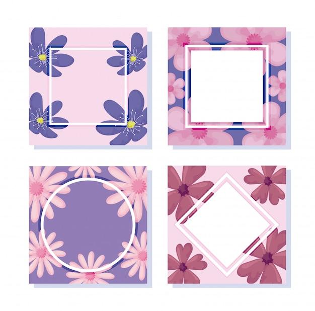 Conjunto de ícones de floral e quadros sobre branco