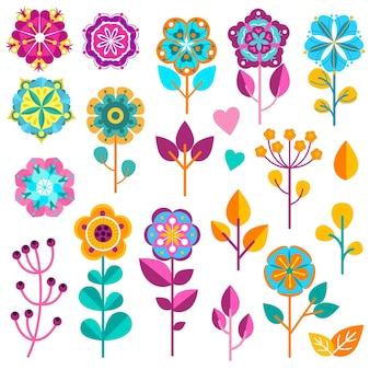 Conjunto de ícones de flores coloridas