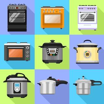 Conjunto de ícones de fogão
