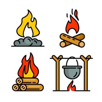 Conjunto de ícones de fogueira, estilo de estrutura de tópicos