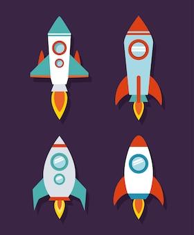 Conjunto de ícones de foguete espacial com tema futurista e cosmos