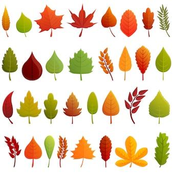 Conjunto de ícones de folhas de outono. conjunto de desenhos animados de ícones do vetor de folhas de outono