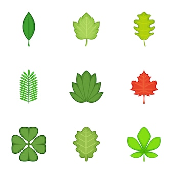 Conjunto de ícones de folhas, estilo cartoon