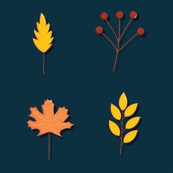Conjunto de ícones de folhas secas sobre fundo azul