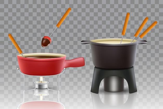 Conjunto de ícones de fondue de queijo e chocolate.
