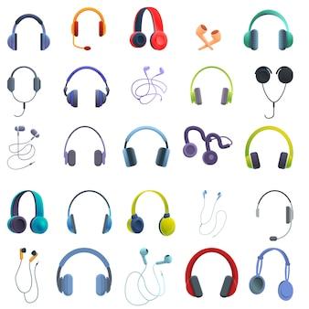 Conjunto de ícones de fone de ouvido, estilo desenho animado
