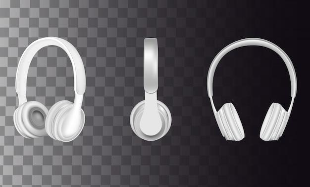 Conjunto de ícones de fones de ouvido branco realista